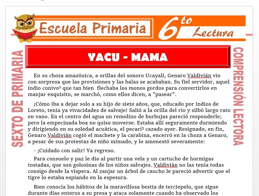 Modelo de la Ficha de Yacu - Mama para Sexto de Primaria