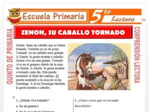 Modelo de la Ficha de Zenon Su Caballo Tornado para Quinto de Primaria