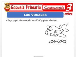 Modelo de la Ficha de Las vocales para Niños de 3 Años