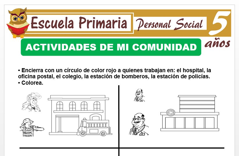 Modelo de la Ficha de Actividad de trabajadores de la comunidad para Niños de 5 Años