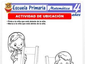 Modelo de la Ficha de Actividad de ubicaciòn para Niños de 4 Años