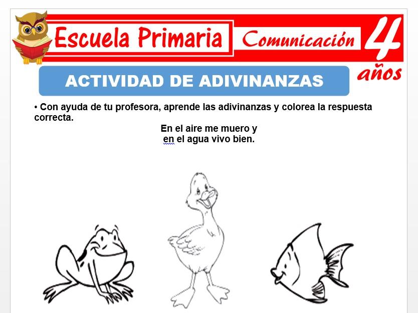 Modelo de la Ficha de Actividades de adivinanzas para Niños de 4 Años
