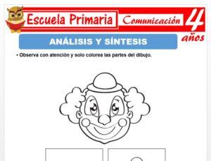 Modelo de la Ficha de Actividad de análisis y síntesis para Niños de 4 Años