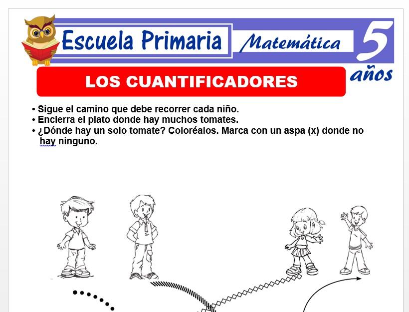 Modelo de la Ficha de Actividades de cuantificadores para Niños de 5 Años