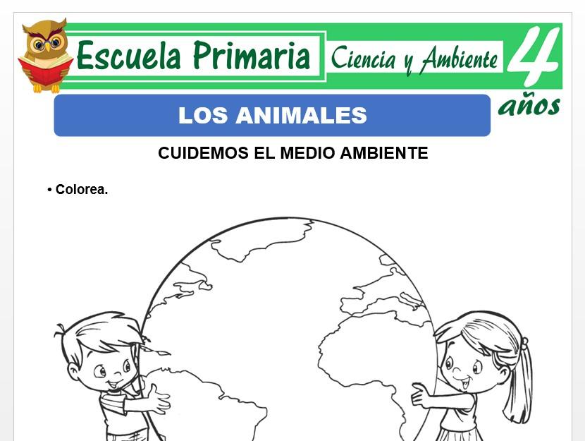 Modelo de la Ficha de Actividades del medio ambiente para Niños de 4 Años