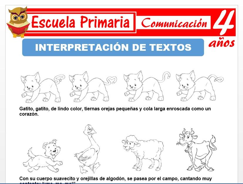Modelo de la Ficha de Actividades de interpretaciòn de textos para Niños de 4 Años
