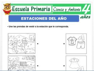 Modelo de la Ficha de Actividades de las estaciones para Niños de 4 Años