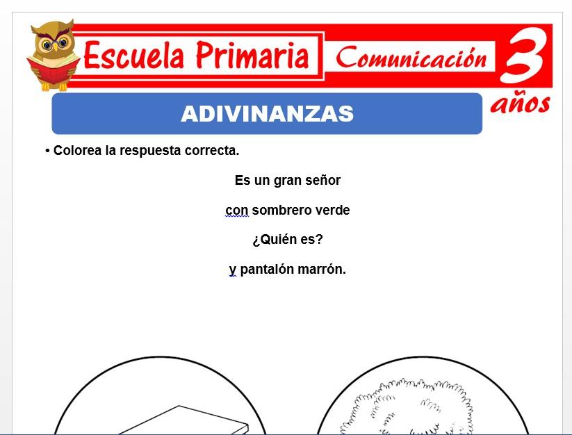 Modelo de la Ficha de Adivinanzas para Niños de 3 Años