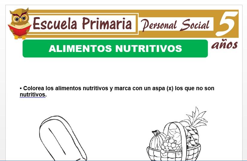 Modelo de la Ficha de Alimentos nutritivos para Niños de 5 Años
