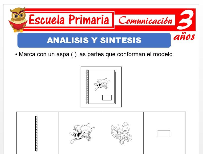 Modelo de la Ficha de Anàlisis y síntesis para Niños de 3