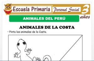 Modelo de la Ficha de Animales del Perù para Niños de 3 Años