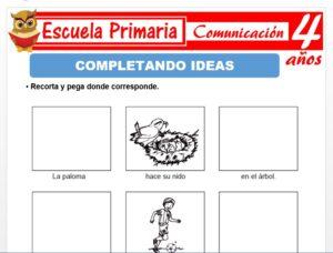 Modelo de la Ficha de Completando ideas para Niños de 4 Años