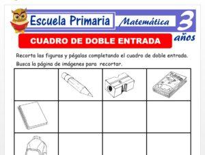 Modelo de la Ficha de Cuadro de doble entrada para Niños de 3 Años