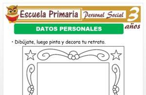 Modelo de la Ficha de Datos personales para Niños de 3 Años