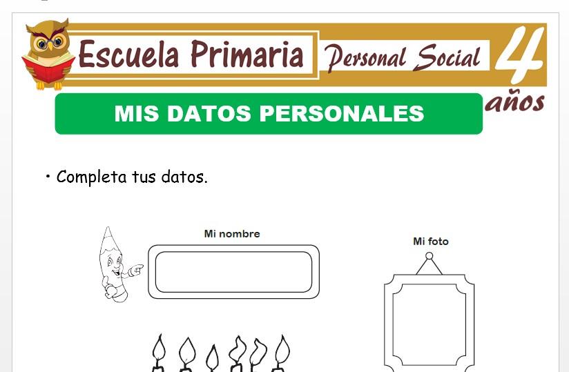 Modelo de la Ficha de Datos personales para Niños de 4 Años
