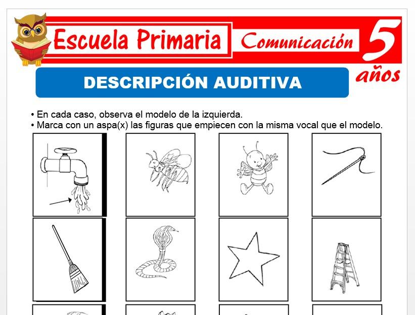 Modelo de la Ficha de Descripciòn auditiva para Niños de 5 Años