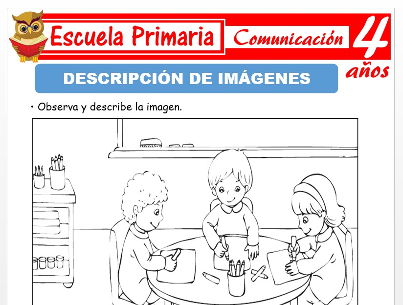 Modelo de la Ficha de Descripción de imágenes para Niños de 4 Años