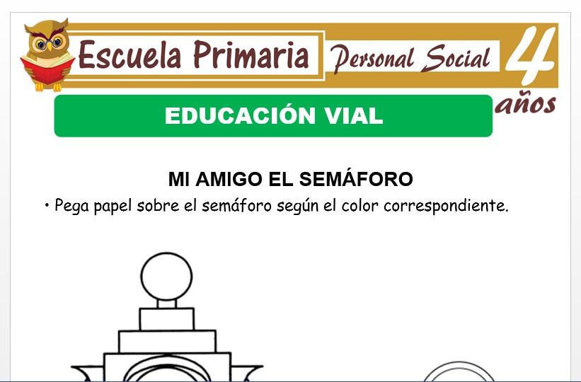 Modelo de la Ficha de Educación vial para Niños de 4 Años