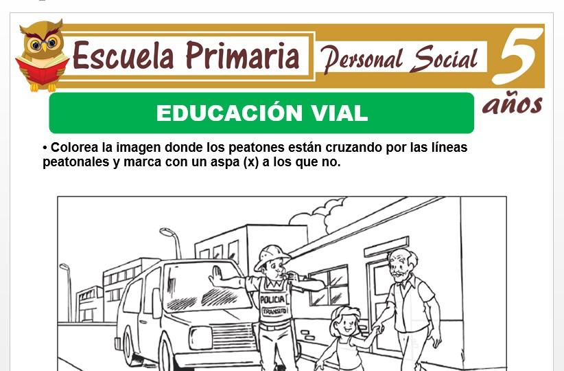 Modelo de la Ficha de Educación vial para Niños de 5 Años