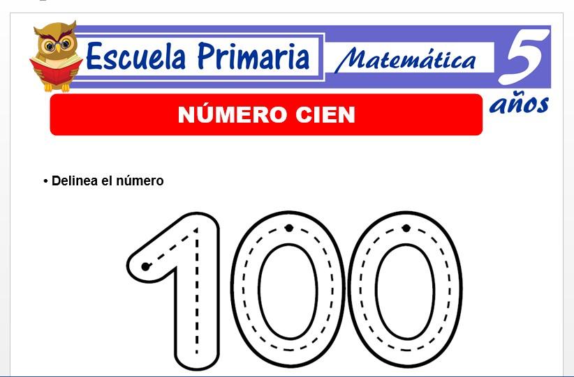 Modelo de la Ficha de El nùmero 100 para Niños de 5 Años