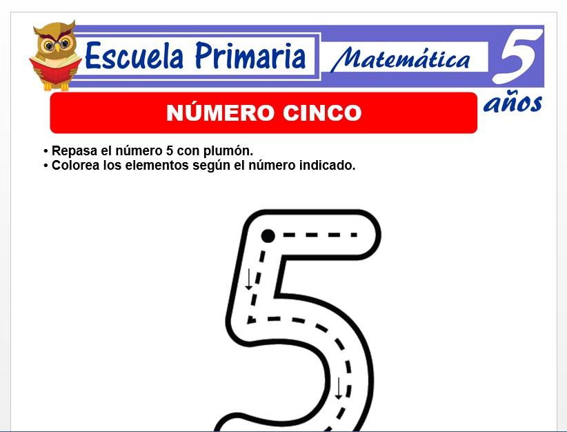 Modelo de la Ficha de El nùmero 5 para Niños de 5 Años