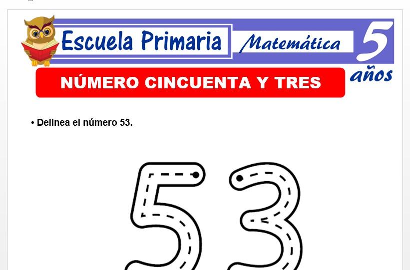 Modelo de la Ficha de El nùmero 53 para Niños de 5 Años