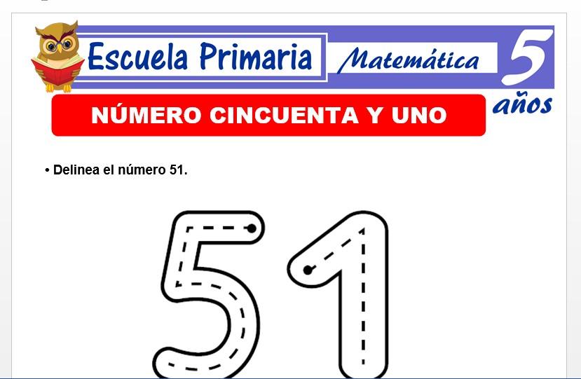 Modelo de la Ficha de El número 51 para Niños de 5 Años