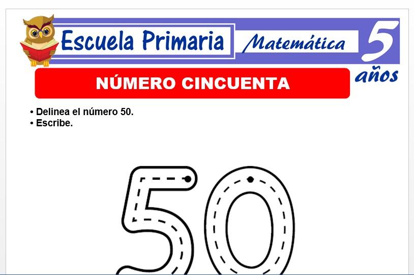 Modelo de la Ficha de El nùmero 50 para Niños de 5 Años