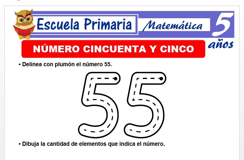 Modelo de la Ficha de El nùmero 55 para Niños de 5 Años