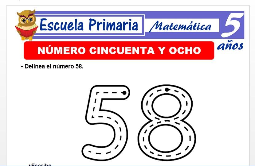 Modelo de la Ficha de El nùmero 58 para Niños de 5 Años