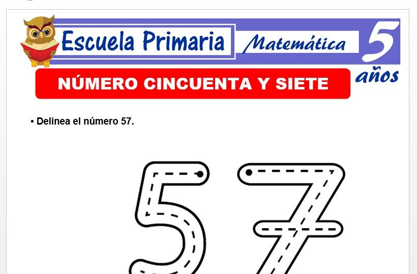 Modelo de la Ficha de El nùmero 57 para Niños de 5 Años