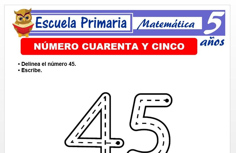 Modelo de la Ficha de El nùmero 45 para Niños de 5 Años