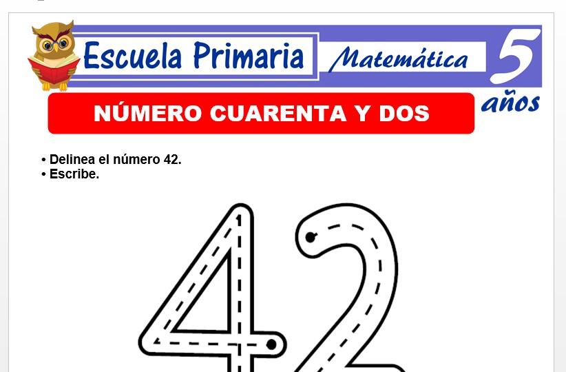 Modelo de la Ficha de El nùmero 42 para Niños de 5 Años