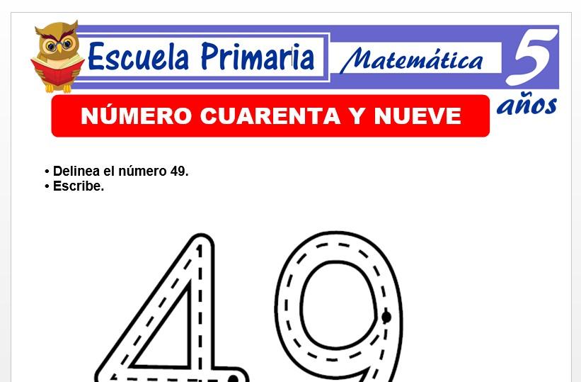 Modelo de la Ficha de El nùmero 49 para Niños de 5 Años