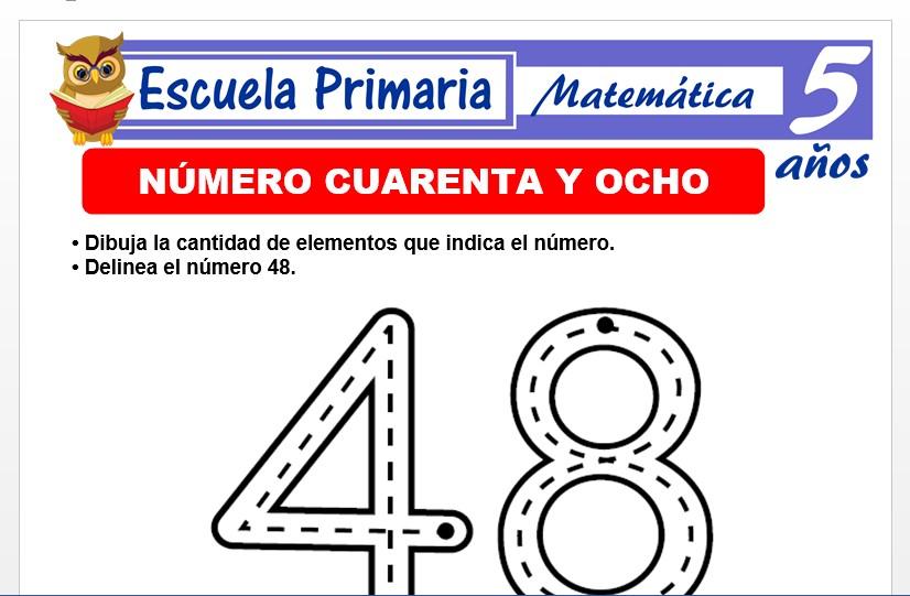 Modelo de la Ficha de El nùmero 48 para Niños de 5 Años