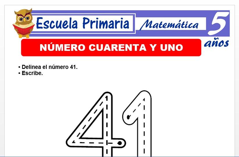 Modelo de la Ficha de El nùmero 41 para Niños de 5 Años