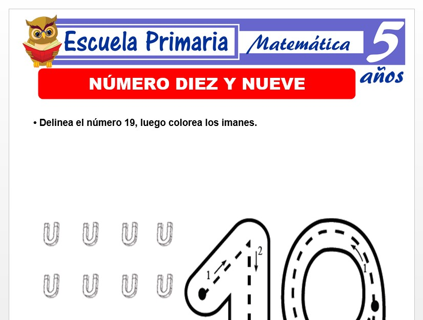 Modelo de la Ficha de EL nùmero 19 para Niños de 5 Años