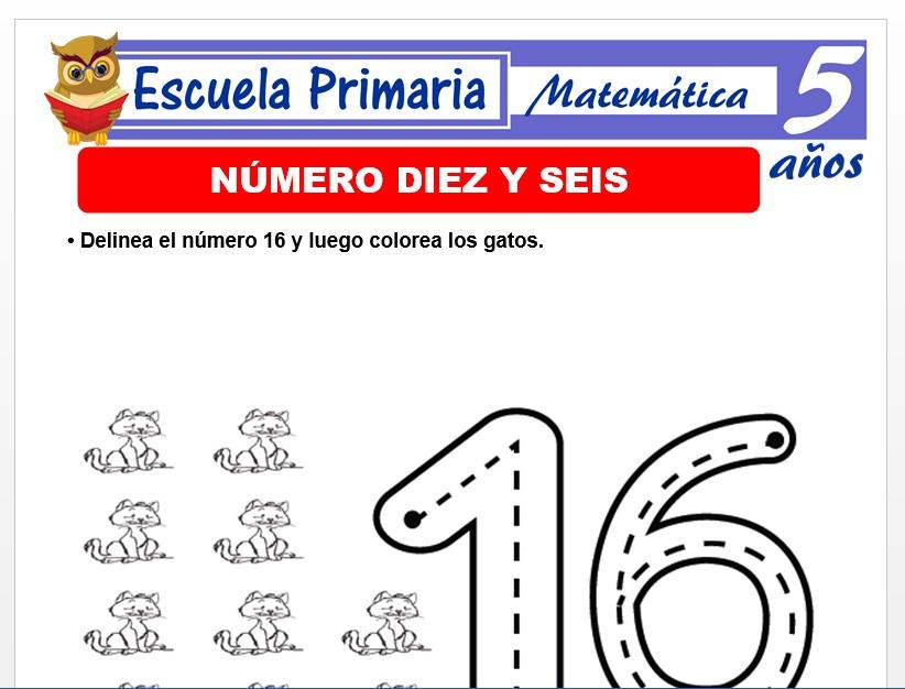 Modelo de la Ficha de El número 16 para Niños de 5 Años