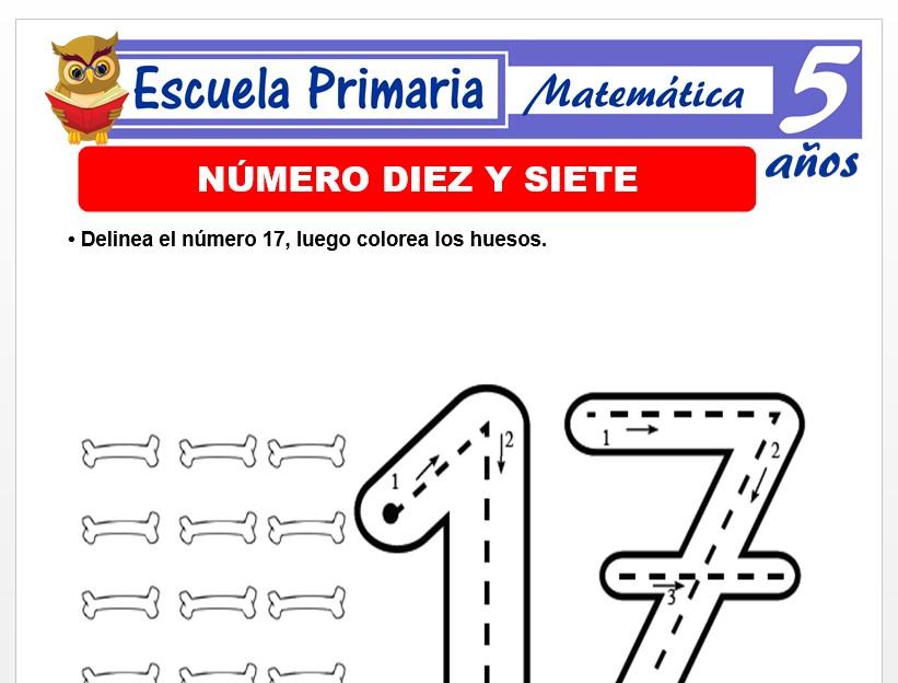 Modelo de la Ficha de El número 17 para Niños de 5 Años
