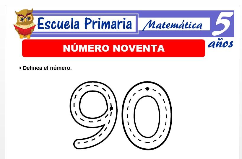 Modelo de la Ficha de El nùmero 90 para Niños de 5 Años
