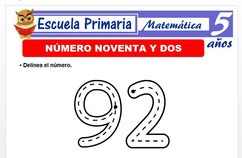 Modelo de la Ficha de El nùmero 92 para Niños de 5 Años