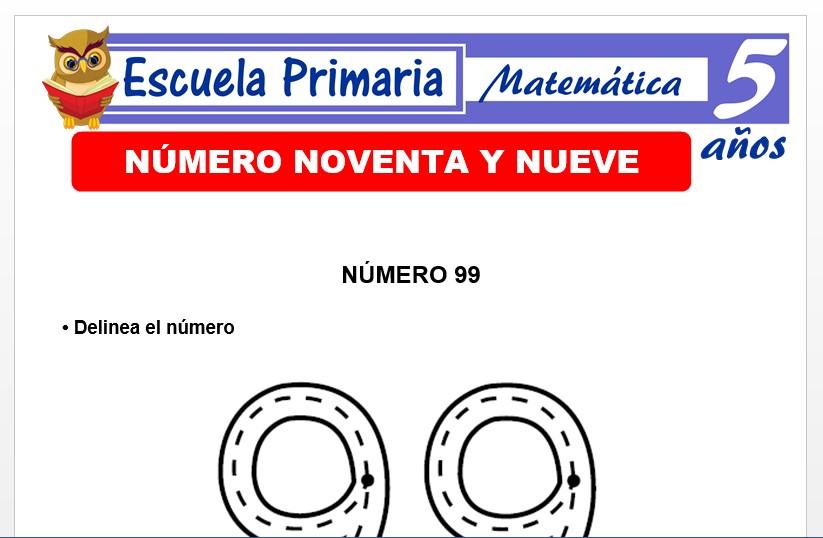 Modelo de la Ficha de El nùmero 99 para Niños de 5 Años