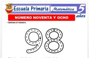 Modelo de la Ficha de El nùmero 98 para Niños de 5 Años