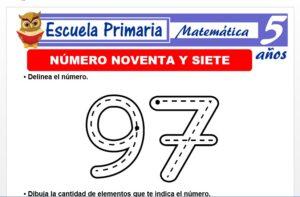 Modelo de la Ficha de El nùmero 97 para Niños de 5 Años