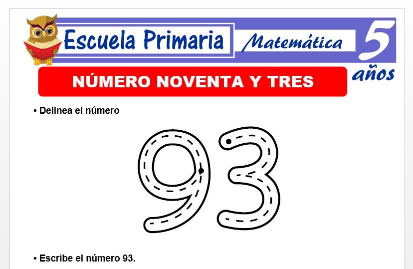 Modelo de la Ficha de El nùmero 93 para Niños de 5 Años