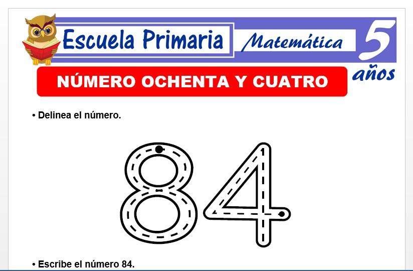 Modelo de la Ficha de El nùmero 84 para Niños de 5 Años
