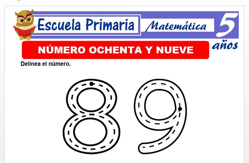 Modelo de la Ficha de El nùmero 89 para Niños de 5 Años