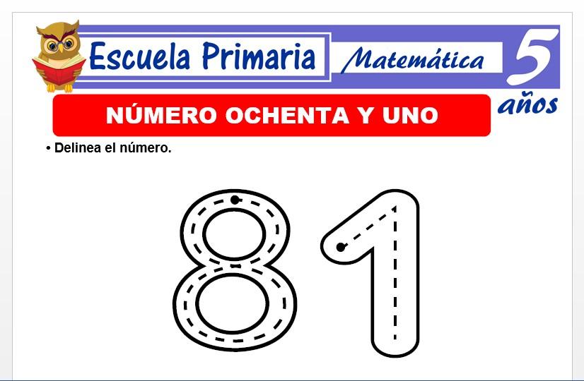 Modelo de la Ficha de El nùmero 81 para Niños de 5 Años