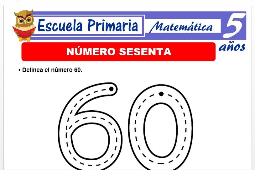 Modelo de la Ficha de El nùmero 60 para Niños de 5 Años