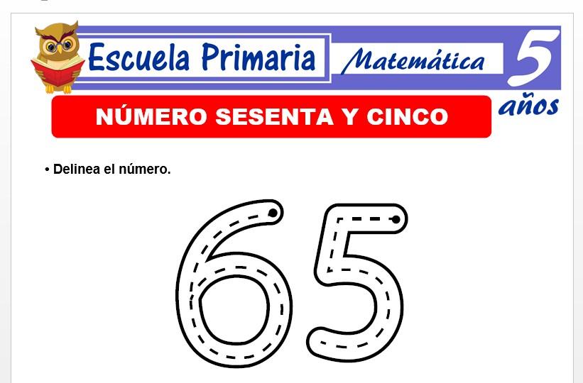 Modelo de la Ficha de El nùmero 65 para Niños de 5 Años